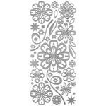 "Dazzles™ Stickers Daisy Silver: Metallic, 4"" x 9"", Outline, (model HOTP2028), price per each"