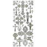 "Dazzles™ Stickers Crosses Silver: Metallic, 4"" x 9"", Outline, (model HOTP2036), price per each"