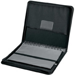 "Prestige™ Elegance™ Series Presentation Case 8.5 x 11: Black/Gray, Vinyl, 10 Pages, 10 Protective Sleeves, 8 1/2"" x 11"""