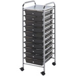"Blue Hills Studio™ Storage Cart 10-Drawer (Standard) Smoke: Black/Gray, 13 5/8""l x 9 5/8""w x 5/8""h, Plastic, 10-Drawer, 15""d x 11 1/4""w x 38""h, (model SC10SM), price per each"