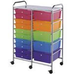 "Blue Hills Studio™ Storage Cart 15-Drawer (Standard and Deep) Multi-Colored: Multi, 13 3/4""l x 9 3/4""w x 5""h, 13 5/8""l x 9 5/8""w x 5/8""h, Plastic, 15-Drawer, 15 1/4""d x 23 5/8""w x 38""h"