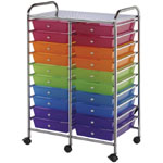 "Blue Hills Studio™ Storage Cart 20-Drawer (Standard) Multi-Colored: Multi, 13 5/8""l x 9 5/8""w x 5/8""h, Plastic, 20-Drawer, 15 1/4""d x 23 5/8""w x 38""h, (model SC20MCDW), price per each"