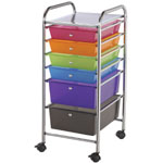 "Blue Hills Studio™ Storage Cart 6-Drawer (Standard and Deep) Multi-Colored: Multi, 13 3/4""l x 9 3/4""w x 5""h, 13 5/8""l x 9 5/8""w x 5/8""h, Plastic, 6-Drawer, 15""d x 11 1/4""w x 32""h, (model SC6MC), price per each"