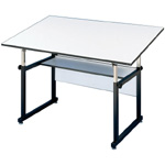 "Alvin® WorkMaster® Table Black Base White Top 37 1/2"" x 72"": 0 - 40, Black/Gray, Steel, 29"" - 46"", White/Ivory, Melamine, 37 1/4"" x 72"""