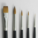 Trinity Brush Introductory Set of 5 Kolinsky Sable Art Brushes