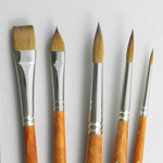 Trinity Brush Long-Handle Set of 5 Kolinsky Sable Art Brushes