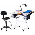 Martin Creation Station 4 Pieces Combo Table Package with Drafting High Chair: White Base with White Top