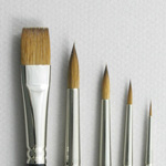 Introductory Set of 5 Pure Red Sable Art Brushes