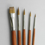 Old Masters' Set of 5 Pure Red Sable Art Brushes
