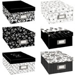 "Pioneer® Acid-Free Photo Storage Box Set: 1100 Photos, Black/Gray, White/Ivory, Paper, 7 7/8""d x 11 3/8""w x 4 1/2""h, (model PB1BW), price per each"