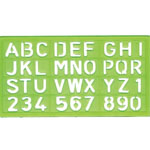 "Alvin® Lettering Stencil Template 4-Piece Set: 4-Pack, 1 1/8"", 3/4"", 3/8"", 5/8"", (model LS44), price per set"