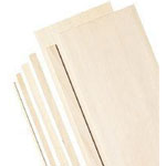 "Alvin® 4"" Bass Wood Sheets 1/16"": Sheet, 5 Sheets, 4"" x 24"", 1/16"", (model WS3164), price per 5 Sheets"
