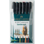 Faber-Castell® PITT® Artist Brush Pen Landscape 6-Color Set: Multi, India, Pigment, Brush Nib, Brush Pen