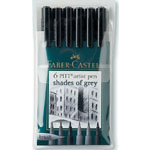 Faber-Castell® PITT® Artist Brush Pen Grey 6-Color Set: Black/Gray, India, Pigment, Brush Nib, Brush Pen, (model FC167104), price per set