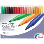 Pentel® Color Pen® Marker 36-Color Set: Multi, Water-Based, Fine Nib, (model S360-36), price per set