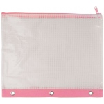 "Alvin 3-Ring Binder Mesh Bag 8"" x 11"" Pink Trim"