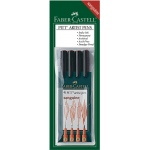 Faber-Castell® PITT® Artist 4-Pen Set Sanguine: Brown, Orange, India, Pigment, Brush Nib, Fine Nib, Medium Nib, Super Fine Nib, (model FC167102), price per set