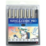 Pigma® Manga-Comic Pro Sketching and Inking 8-Piece Set: Black/Gray, Pigment, .005mm, .01mm, .02mm, .03mm, .05mm, .08mm, .7mm, 1mm, Brush Nib, Fine Nib, Ultra Fine Nib, Brush Pen