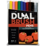 Tombow® Dual Brush® 10-Color Primary Pen Set: Multi, Double-Ended, Dye-Based, Brush Nib, Fine Nib, Brush Pen, (model 56167), price per set
