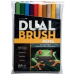 Tombow® Dual Brush® 10-Color Secondary Pen Set: Multi, Double-Ended, Dye-Based, Brush Nib, Fine Nib, Brush Pen