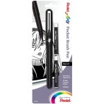 Pentel® Pocket Brush Pen Black: Black/Gray, Pigment, Refillable, Fine Nib, (model GFKP3BPA), price per pack