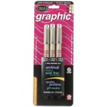 Pigma® Black Graphic Drawing Pen: Black/Gray, Pigment, 1mm, 2mm, 3mm, Fine Nib, (model 38881), price per set