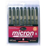 Pigma® Micron® Fine Line Design Pen 8-Color Pack .45mm: Multi, Pigment, .45mm, Fine Nib, (model 30066), price per set