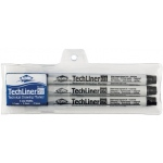 Alvin® TechLiner Technical Drawing Marker 3-Piece Set: Black/Gray, .1mm, .5mm, Fine Nib, Technical