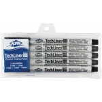 Alvin® TechLiner Technical Drawing Marker 5-Piece Set: Black/Gray, .1mm, .2mm, .4mm, .5mm, Fine Nib, Technical