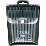 Copic® Multiliner (Disposable) 9-Piece Black Pen Set (Includes 2 Brush): Black/Gray, Pigment, .03mm, .05mm, .1mm, .5mm, .8mm, 1mm, Brush Nib, Fine Nib, (model MLB2), price per set