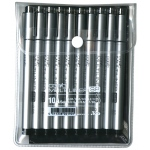 Copic® Multiliner SP (Refillable) Black Pen Set: Black/Gray, Pigment, Refillable, .03mm, .05mm, .1mm, .25mm, .2mm, .5mm, .7mm, Brush Nib, Fine Nib, (model MLSP10A), price per pack