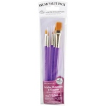 Royal & Langnickel® 9100 Series  Zip N' Close™ Purple 5-Piece Brush Set 1: Short Handle, Taklon, Round, Shader, Wash, Acrylic, Tempera, Watercolor