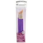 Royal & Langnickel® 9100 Series  Zip N' Close™ Purple 5-Piece Brush Set 2: Short Handle, Taklon, Round, Acrylic, Tempera, Watercolor