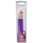 Royal & Langnickel® 9100 Series  Zip N' Close™ Purple 5-Piece Brush Set 3: Short Handle, Taklon, Round, Shader, Acrylic, Tempera, Watercolor
