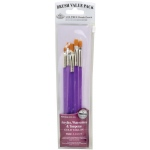 Royal & Langnickel® 9100 Series  Zip N' Close™ Purple 5-Piece Brush Set 4: Short Handle, Taklon, Shader, Acrylic, Tempera, Watercolor, (model RSET-9133), price per set