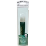 Royal & Langnickel® 9100 Series  Zip N' Close™ Green 6-Piece Brush Set 1: Short Handle, Taklon, Detail, Liner, Script, Acrylic, Tempera, Watercolor, (model RSET-9139), price per set