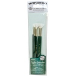 Royal & Langnickel® 9100 Series  Zip N' Close™ Green 5-Piece Brush Set 2: Short Handle, Taklon, Fan, Round, Shader, Acrylic, Oil, Tempera, Watercolor