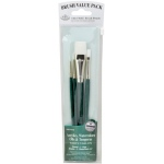 Royal & Langnickel® 9100 Series  Zip N' Close™ Green 4-Piece Brush Set 3: Short Handle, Taklon, Glaze, Liner, Round, Shader, Acrylic, Oil, Tempera, Watercolor