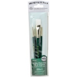 Royal & Langnickel® 9100 Series  Zip N' Close™ Green 4-Piece Brush Set 6: Short Handle, Taklon, Glaze, Round, Acrylic, Oil, Tempera, Watercolor