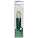Royal & Langnickel® 9100 Series  Zip N' Close™ Green 5-Piece Brush Set 7: Short Handle, Taklon, Angular, Fan, Flat, Script, Acrylic, Oil, Tempera, Watercolor