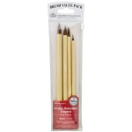 Royal & Langnickel® 9100 Series  Zip N' Close™ Red 4-Piece Brush Set 5: Short Handle, Round, Acrylic, Tempera, Watercolor
