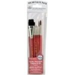 Royal & Langnickel® 9100 Series  Zip N' Close™ Red 7-Piece Brush Set 7: Short Handle, Natural Bristle, Sable, Glaze, Liner, Round, Script, Shader, Acrylic, Oil, Tempera, Watercolor, (model RSET-9151), price per set