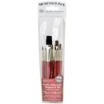 Royal & Langnickel® 9100 Series  Zip N' Close™ Red 10-Piece Brush Set 8: Short Handle, Camel, Sable, Detail, Flat, Round, Shader, Acrylic, Oil, Tempera, Watercolor