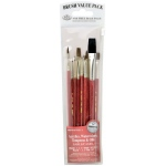 Royal & Langnickel® 9100 Series  Zip N' Close™ Red 10-Piece Brush Set: Short Handle, Camel, Sable, Detail, Flat, Round, Shader, Acrylic, Oil, Tempera, Watercolor