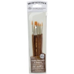 Royal & Langnickel® 9100 Series  Zip N' Close™ Brown 6-Piece Brush Set 1: Short Handle, Camel, Sable, Detail, Flat, Round, Shader, Acrylic, Tempera, Watercolor
