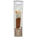 Royal & Langnickel® 9100 Series  Zip N' Close™ Brown 5-Piece Brush Set 2: Short Handle, Camel, Sable, Detail, Flat, Round, Shader, Acrylic, Tempera, Watercolor