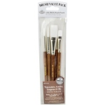 Royal & Langnickel® 9100 Series  Zip N' Close™ Brown 5-Piece Brush Set 3: Short Handle, Camel, Sable, Detail, Flat, Round, Shader, Acrylic, Oil, Tempera, Watercolor