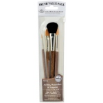 Royal & Langnickel® 9100 Series  Zip N' Close™ Brown 4-Piece Brush Set 5: Short Handle, Camel, Sable, Detail, Flat, Round, Shader, Acrylic, Tempera, Watercolor
