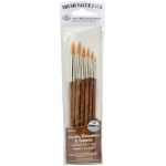 Royal & Langnickel® 9100 Series  Zip N' Close™ Brown 6-Piece Brush Set 7: Short Handle, Camel, Sable, Detail, Flat, Round, Shader, Acrylic, Tempera, Watercolor