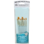Royal & Langnickel® 9100 Series  Zip N' Close™ Teal Blue 6-Piece Brush Set 6: Short Handle, Taklon, Shader, Acrylic, Tempera, Watercolor, (model RSET-9159), price per set